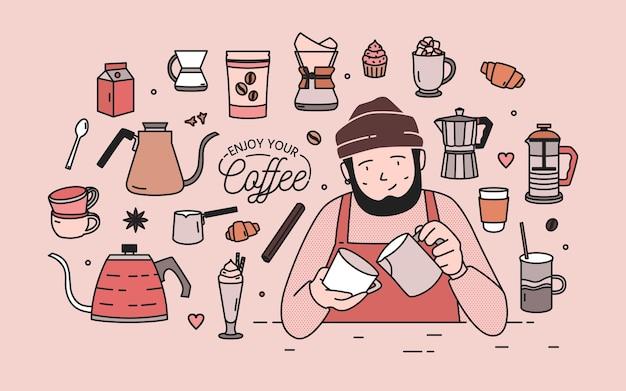 Hombre con barba con sombrero y delantal rodeado de postres, especias y herramientas para preparar café Vector Premium