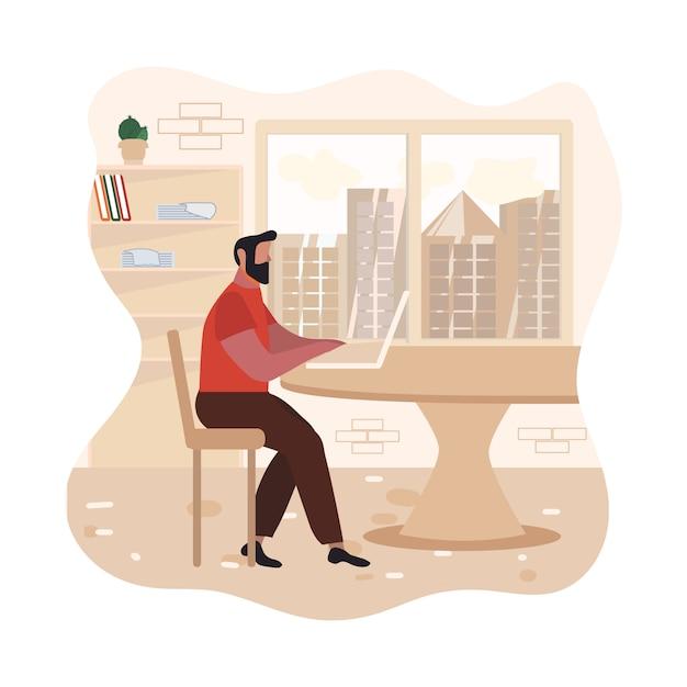 Hombre barbudo adulto escribiendo en la ilustración del ordenador portátil Vector Premium