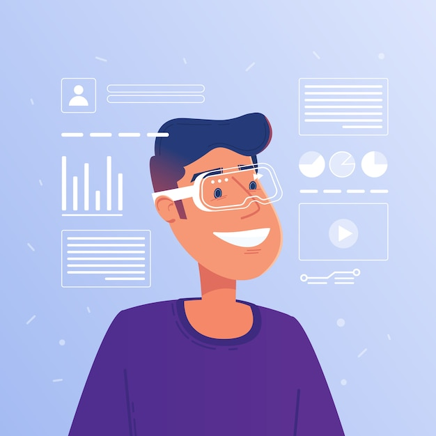 Hombre blanco caucásico feliz en gafas de realidad aumentada funcionamiento interfaz virtual hud. Vector Premium