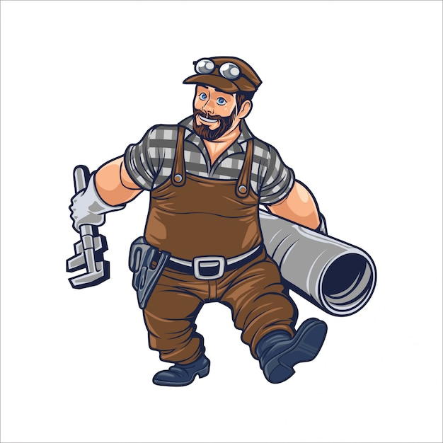 Hombre de bombeo de dibujos animados Vector Premium