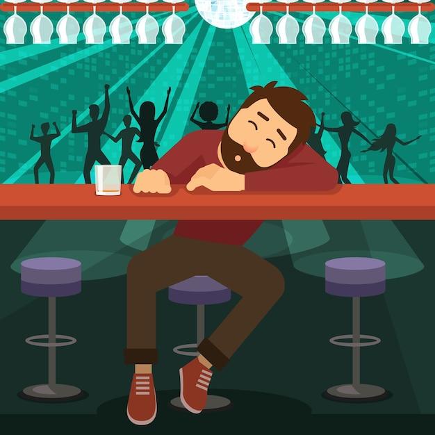 Hombre borracho alcohólico dormido en el bar de la discoteca vector gratuito