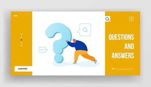 Hombre buscando respuesta o página de destino del sitio web de solución Vector Premium