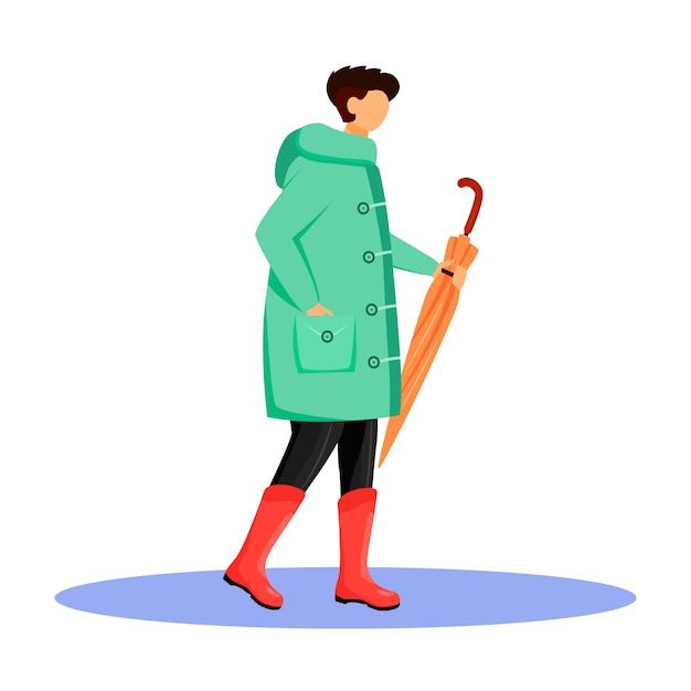 Hombre en carácter impermeable color sin rostro. caminando chico caucásico en botas de goma. clima lluvioso. otoño húmedo día. hombre con paraguas en mano aislado ilustración de dibujos animados sobre fondo blanco. Vector Premium