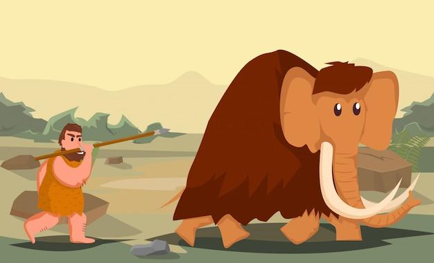 Hombre de las cavernas cazando mamuts Vector Premium