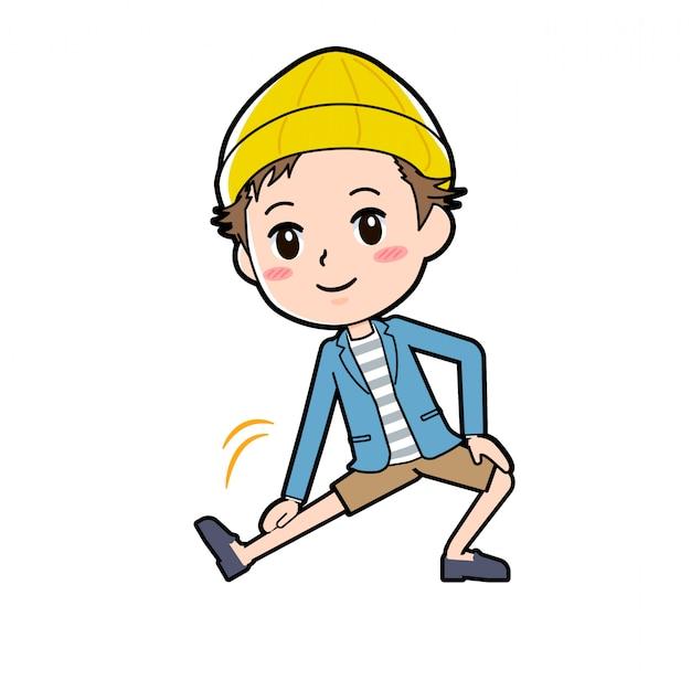 Un Hombre Con Chaqueta Y Pantalones Cortos Se Estira Vector Premium