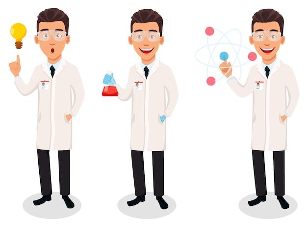 Hombre científico, personaje de dibujos animados guapo Vector Premium