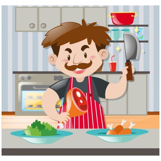 Hombre cocinando en la cocina descargar vectores gratis for Cocinar imagenes animadas