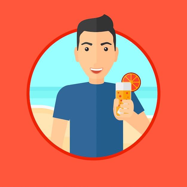 Hombre con cóctel en la playa. Vector Premium