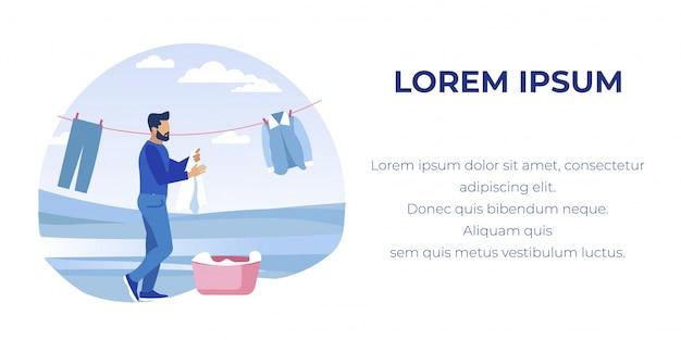 Hombre colgando ropa limpia en línea al aire libre Vector Premium