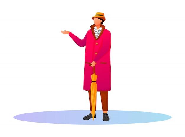 Hombre de color rosa impermeable color personaje sin rostro. quedarse chico caucásico con sombrero y bufanda. clima lluvioso. otoño húmedo día. hombre con paraguas ilustración de dibujos animados sobre fondo blanco. Vector Premium