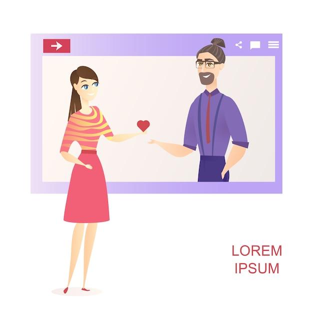 Hombre como mujer red de redes sociales banner de sitio web vector gratuito