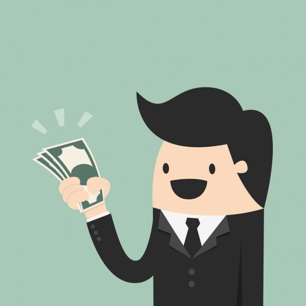 Hombre con un fajo de billetes Vector Gratis