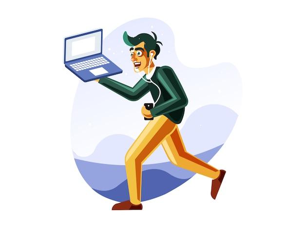 Hombre corriendo mientras lleva el portátil Vector Premium