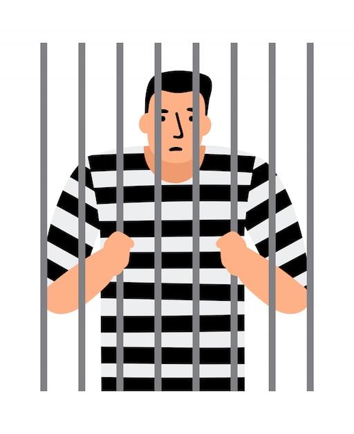 Hombre criminal en la cárcel Vector Premium