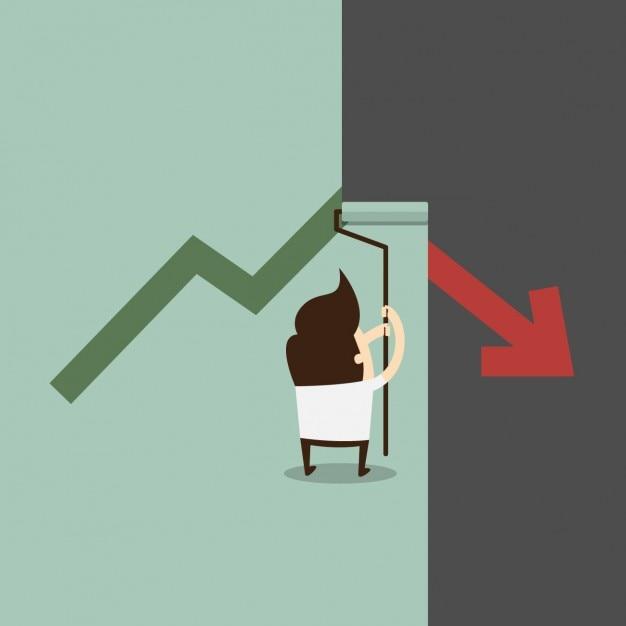 Hombre de negocios corrigiendo el gráfico decreciente Vector Gratis