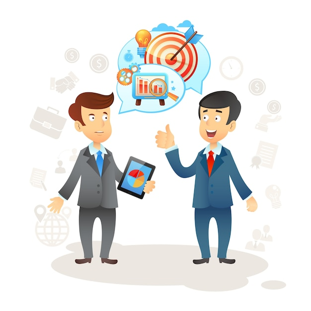 Hombre de negocios Social Chat Vector Gratis