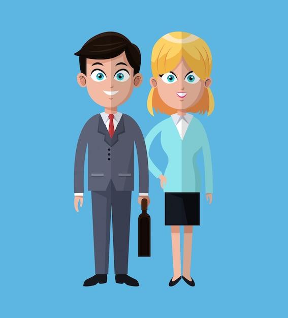 Hombre De Dibujos Animados Y Mujer Trabajo Cooperación