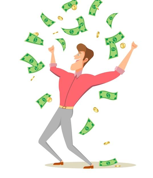 Un hombre de dibujos animados de pie bajo dinero lluvia billetes y monedas Vector Premium