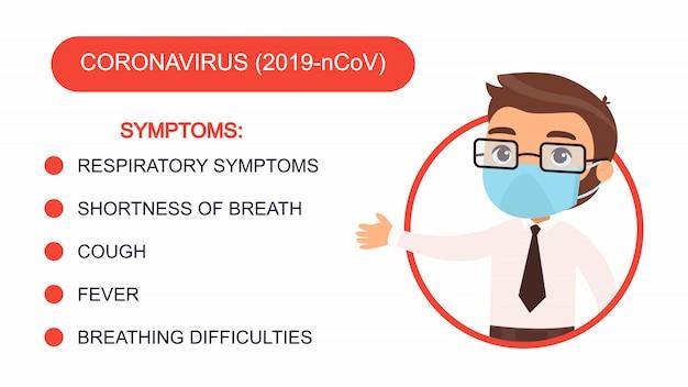 Hombre de dibujos animados en un traje de oficina apunta a una lista de síntomas de coronavirus. personaje con una máscara protectora en la cara. infografía de protección antivirus. vector gratuito