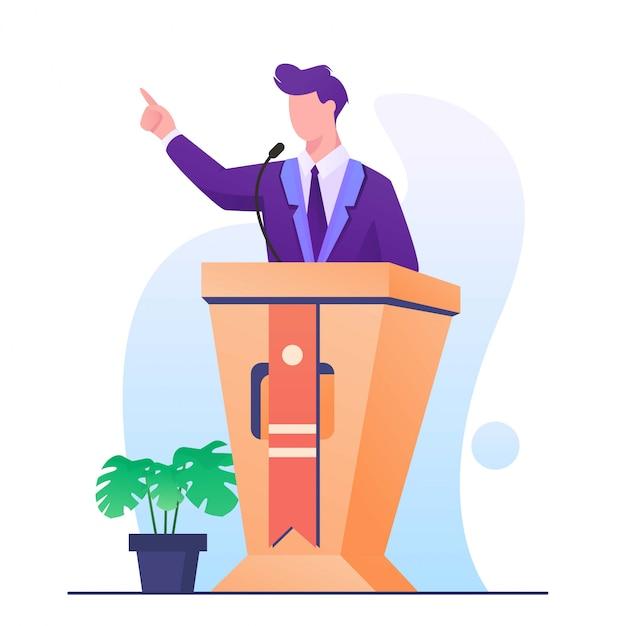 Hombre de discurso en la ilustración del podio Vector Premium