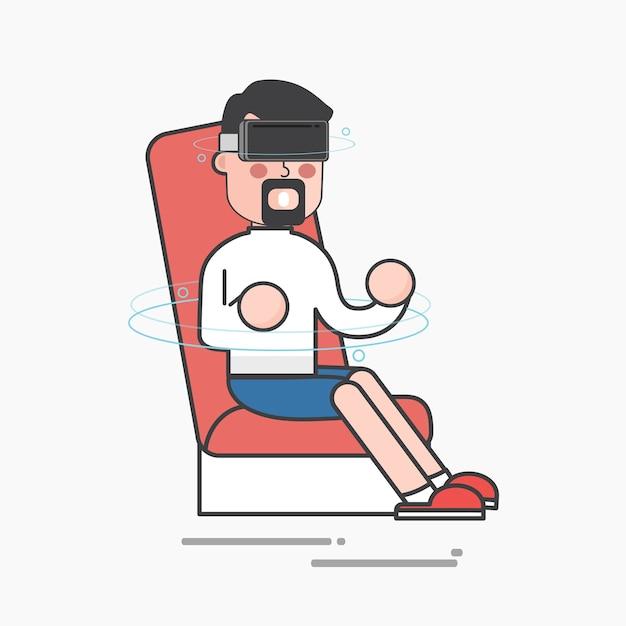 Hombre disfrutando de la realidad virtual vector gratuito