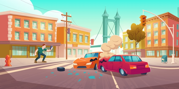 Hombre dispara accidente automovilístico en teléfono inteligente vector gratuito