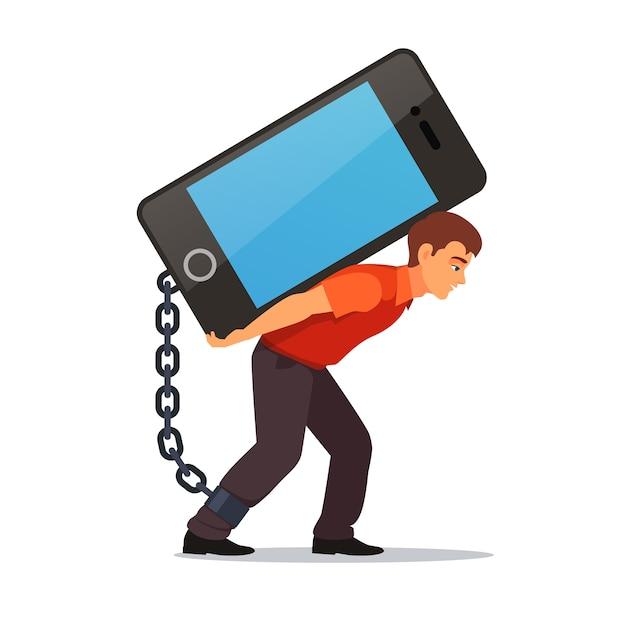 Hombre doblado que lleva el teléfono móvil grande y pesado vector gratuito
