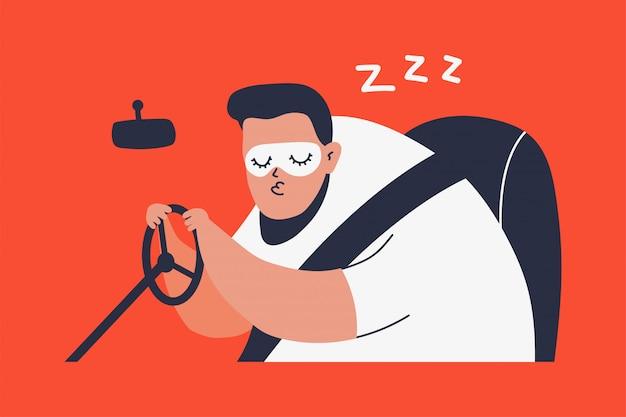 Hombre dormido conduciendo un automóvil Vector Premium