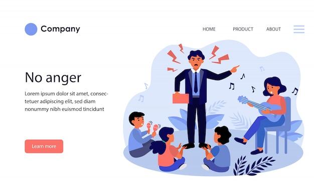 Hombre enojado gritando a niños y mujeres. diseño de plantilla de sitio web vector gratuito