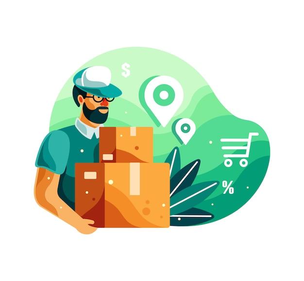 Hombre de entrega con caja ilustración Vector Premium