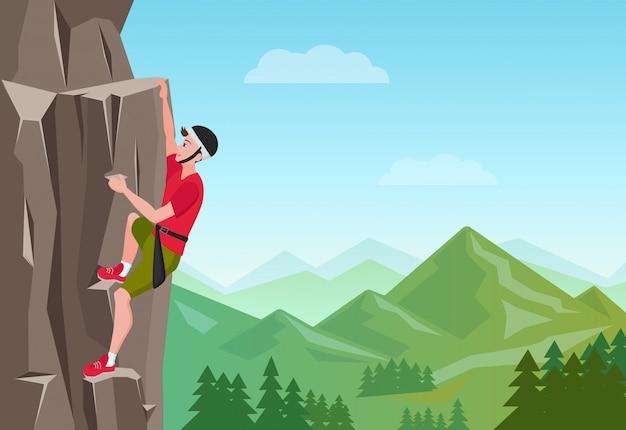 Hombre de escalada en roca. Vector Premium