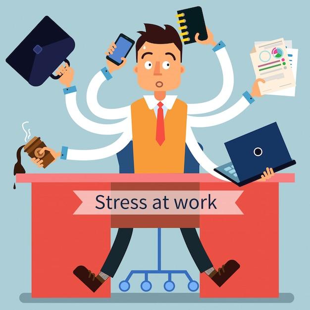 Hombre estresado en el trabajo con muchas manos Vector Premium