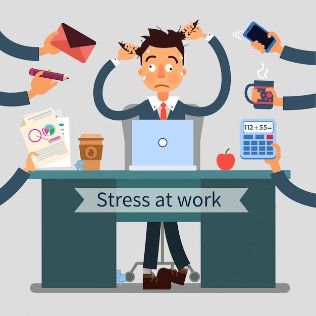 Hombre estresado en el trabajo tira de su cabello con muchas manos agregando diferentes tareas Vector Premium