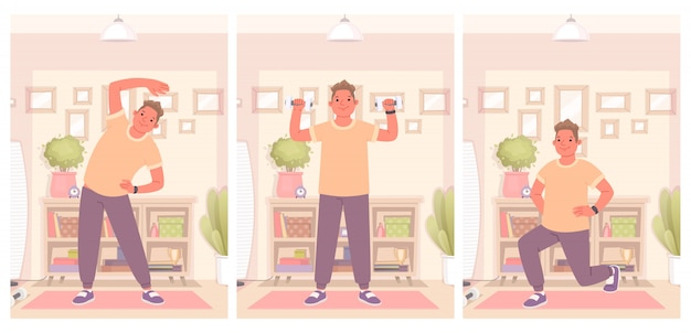 El hombre feliz se dedica a la aptitud y hace ejercicios en casa. mantener un estilo de vida saludable y activo en cuarentena. ilustración vectorial en un estilo plano Vector Premium