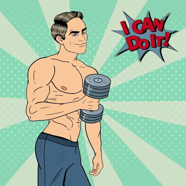 Hombre fuerte atlético del arte pop que ejercita con pesas. ilustración Vector Premium