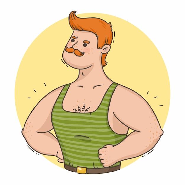 Hombre fuerte pelirrojo de dibujos animados con músculos y bigote Vector Premium