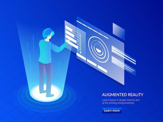 Hombre con gafas vr interactuando con el mundo virtual. Vector Premium