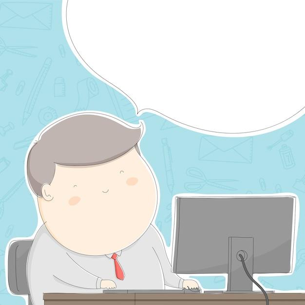 Hombre gordo de la oficina con el trabajo en el patr n for Follando en la oficina gratis