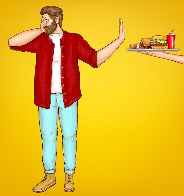 Hombre gordo rechazando dibujos animados de comida rápida vector gratuito