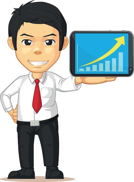 Hombre con gráfico o gráfico en aumento en dibujos animados aislados de tableta móvil Vector Premium