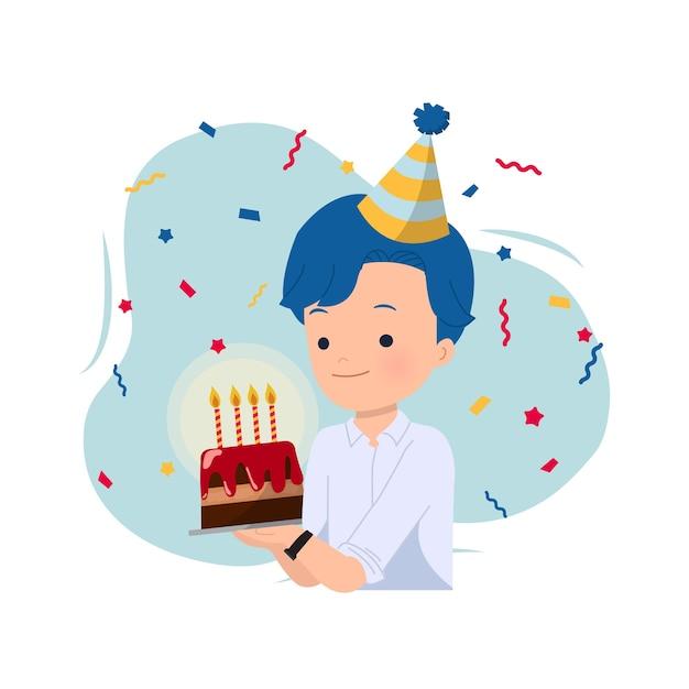 Hombre guapo sosteniendo un pastel para celebrar su cumpleaños decorado con gorro de fiesta y confeti. celebración de chico de oficina. en blanco. Vector Premium