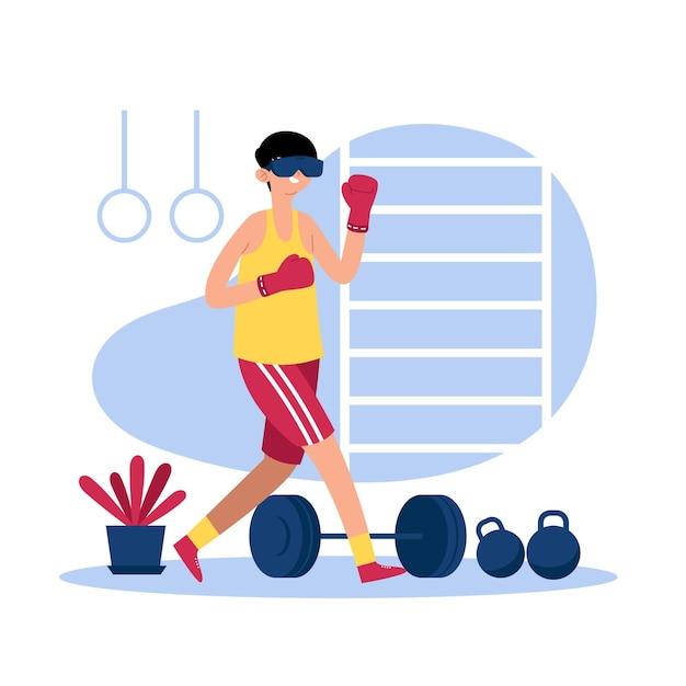 Hombre haciendo deporte en gimnasio virtual vector gratuito