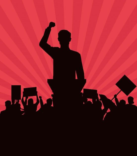 Hombre haciendo un discurso y audiencia con letrero silueta Vector Premium