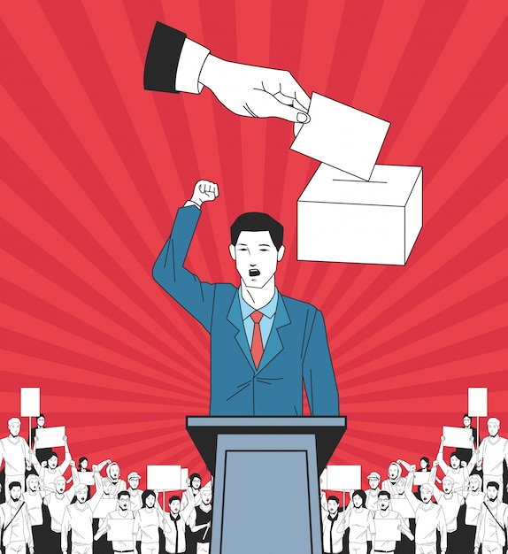 Hombre haciendo un discurso y audiencia con letrero y votando. Vector Premium
