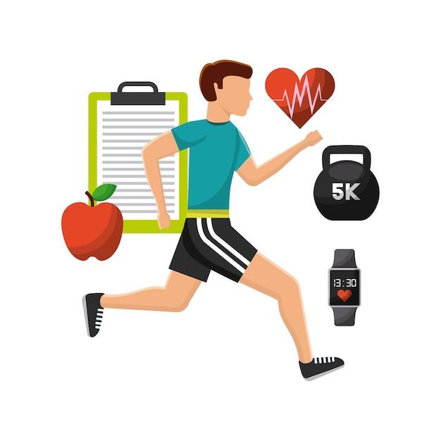 Hombre haciendo ejercicio con iconos de estilo de vida saludable ...