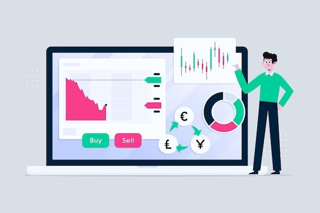Hombre ilustrado con información de la bolsa de valores vector gratuito