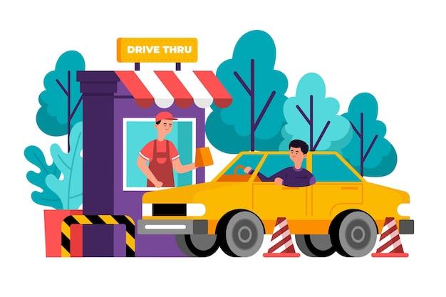 Hombre ilustrado yendo a una ventana de drive thru para conseguir comida vector gratuito