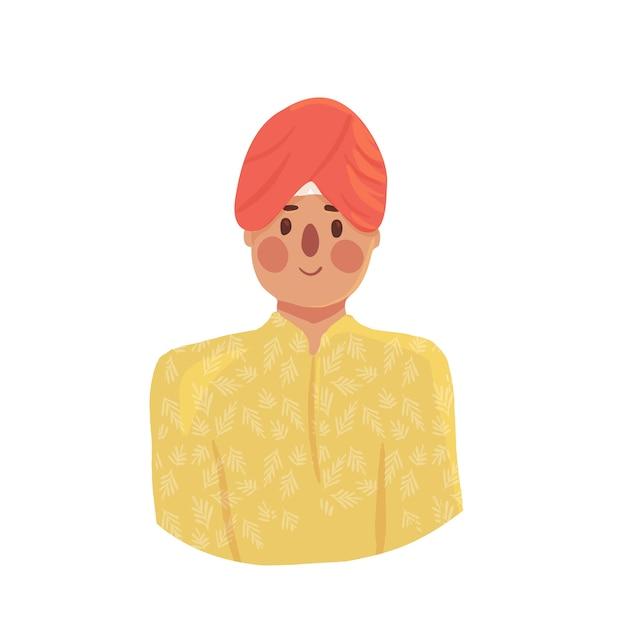 Hombre indio de dibujos animados en turbante Vector Premium