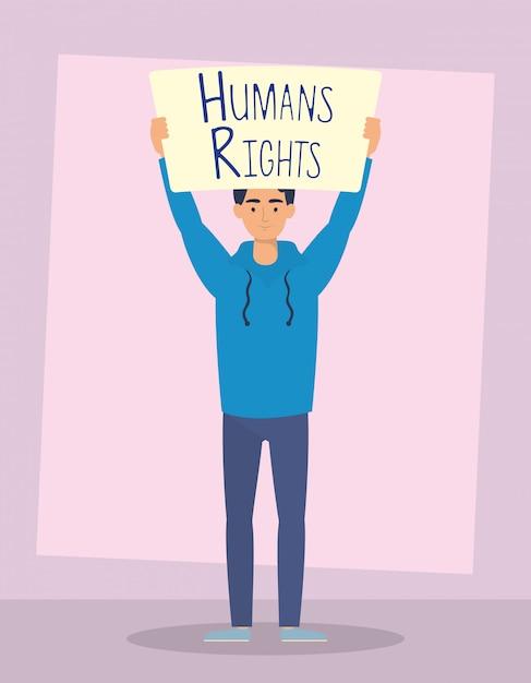 Hombre joven con diseño de ilustración de vector de personaje de etiqueta de derechos humanos vector gratuito