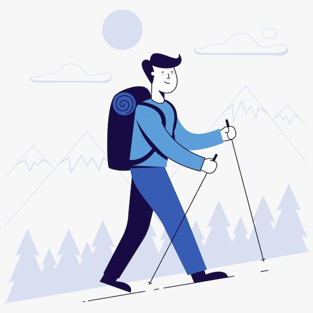 Hombre joven de senderismo con mochila. | Vector Premium